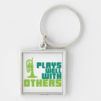 Plays Well with Others - Mellophone Silver-Colored Square Keychain