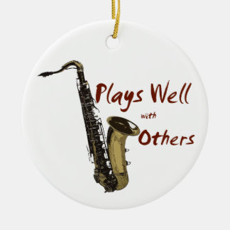 Plays Well with Others Saxophone Ceramic Ornament