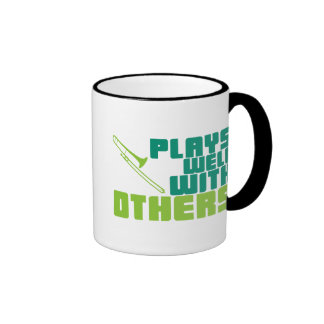 Plays Well with Others - Trombone Ringer Coffee Mug