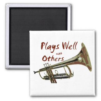 Plays Well with Others/ Trumpet 2 Inch Square Magnet