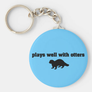 Plays Well With Otters Basic Round Button Keychain