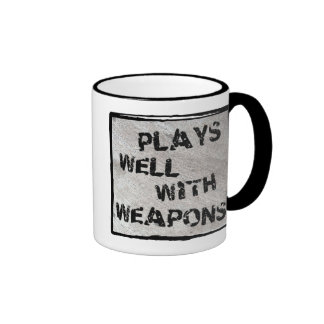 Plays Well With Weapons Mugs