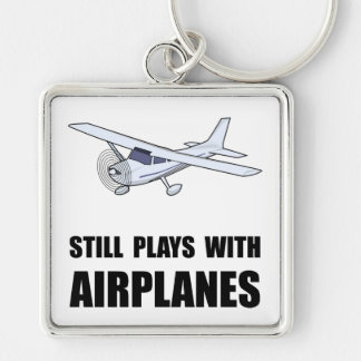 Plays With Airplanes Silver-Colored Square Keychain