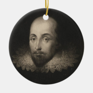 Playwright William Shakespeare by Cornelius Jansen Double-Sided Ceramic Round Christmas Ornament