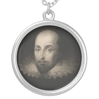 Playwright William Shakespeare by Cornelius Jansen Silver Plated Necklace