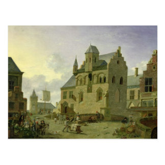 Plaza con las figuras y el comercio de los tarjeta postal