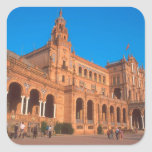 Plaza de Espana en Sevilla, España Calcomanía Cuadradas Personalizadas