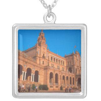 Plaza de Espana in Seville, Spain. Square Pendant Necklace