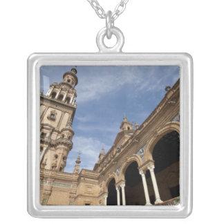 Plaza de Espana, Seville, Andalusia, Spain Square Pendant Necklace