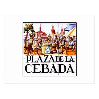 Plaza de la Cebada, Madrid Street Sign Postcard
