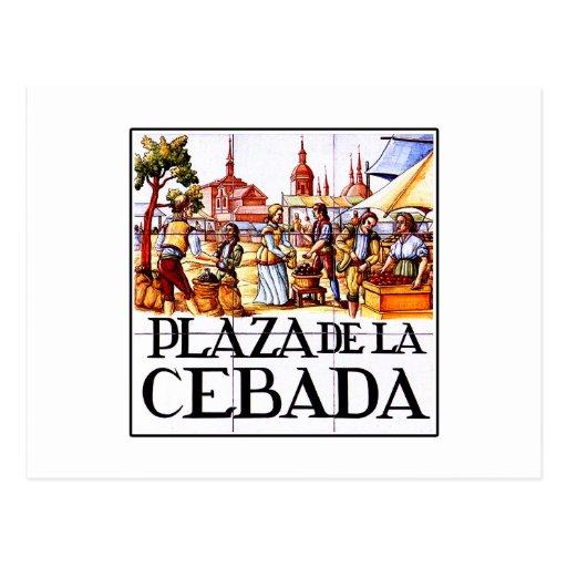 Plaza de la Cebada, placa de calle de Madrid Tarjeta Postal