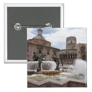 Plaza De La Virgin And Basilica De Virgen 2 Inch Square Button