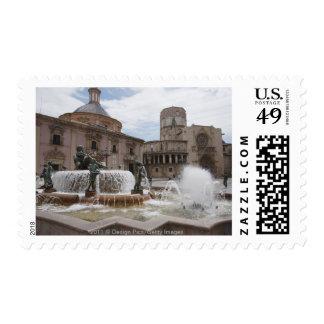 Plaza De La Virgin And Basilica De Virgen Stamp