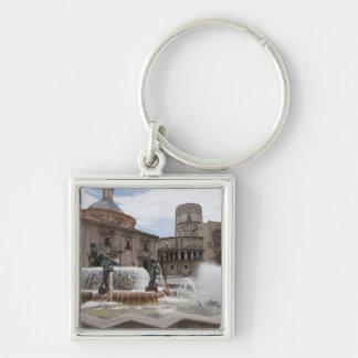 Plaza De La Virgin And Basilica De Virgen Silver-Colored Square Keychain