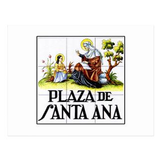 Plaza de Santa Ana, Madrid Street Sign Postcard