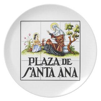 Plaza de Santa Ana, placa de calle de Madrid Platos