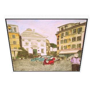 Plaza en Roma, Italia Impresión En Lona