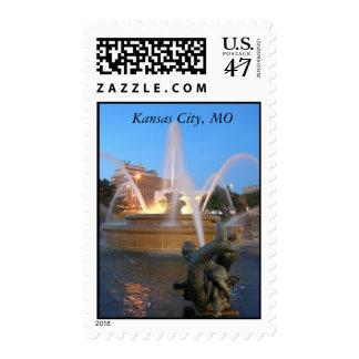 Plaza fountain postage
