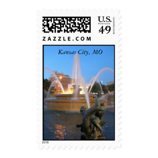 Plaza fountain postage stamp