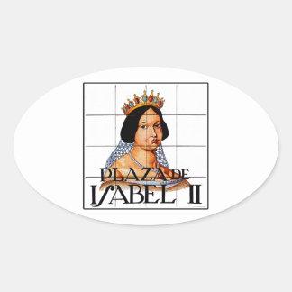 Plaza Isabel II, Madrid Street Sign Oval Sticker