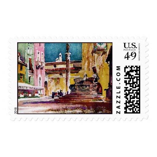 Plaza italiana de la acuarela sello postal