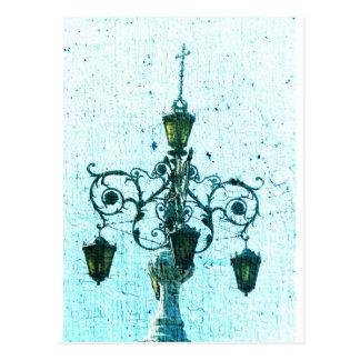 Plaza Light Blue Crackle Postcard