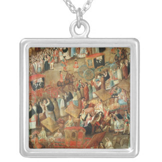 Plaza Mayor in Mexico, detail of carriages Square Pendant Necklace