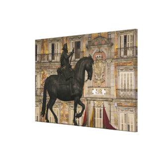 Plaza Mayor with statue of Filipe III, Madrid, Canvas Print