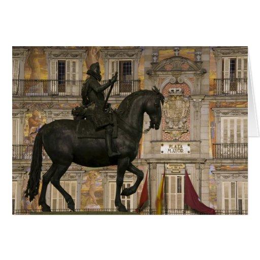Plaza Mayor with statue of Filipe III, Madrid, Card