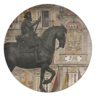 Plaza Mayor with statue of Filipe III, Madrid, Plate