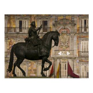 Plaza Mayor with statue of Filipe III, Madrid, Postcard
