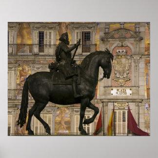 Plaza Mayor with statue of Filipe III, Madrid, Poster