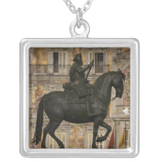 Plaza Mayor with statue of Filipe III, Madrid, Silver Plated Necklace