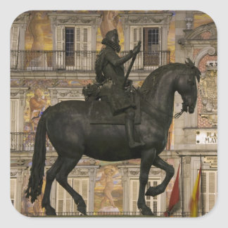 Plaza Mayor with statue of Filipe III, Madrid, Square Sticker