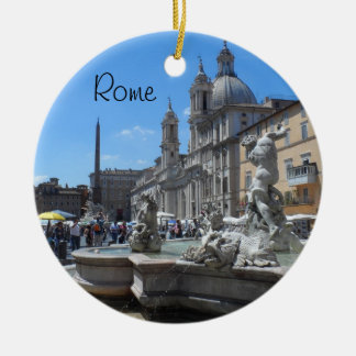 Plaza Navona- Roma, Italia Adorno Navideño Redondo De Cerámica