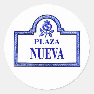 Plaza Nueva, placa de calle de Granada Pegatina Redonda