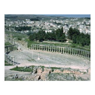 Plaza oval, ciudad antigua Jarash, Jordania de Dec Tarjetón