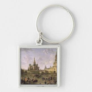 Plaza Roja, Moscú, 1801 Llavero Cuadrado Plateado