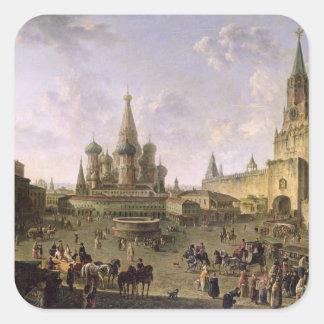 Plaza Roja, Moscú, 1801 Pegatina Cuadrada