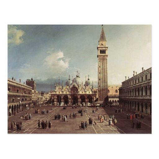 Plaza San Marco de Canaletto- con la basílica Tarjetas Postales