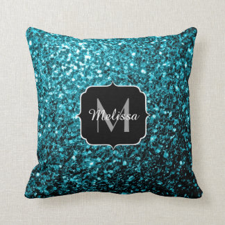 PLdesign Aqua blue glitter sparkles Monogram Throw Pillow