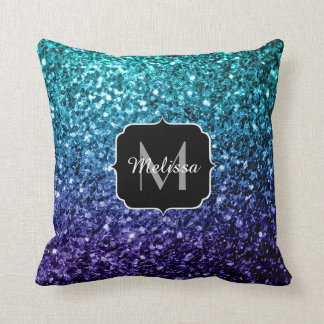PLdesign Aqua Blue Ombre glitter sparkles Monogram Throw Pillow