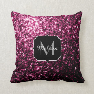 PLdesign Beautiful Pink glitter sparkles Monogram Throw Pillow