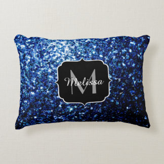 PLdesign Dark Blue glitter sparkles Monogram Decorative Pillow