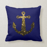 PLdesign Gold sparkles Anchor Dark Navy Blue Throw Pillow