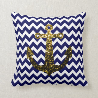 PLdesign's Gold sparkles Anchor Navy Blue Chevron Throw Pillow
