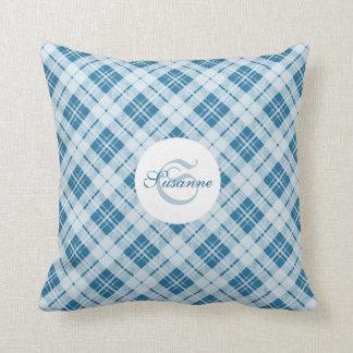 PLdesign's Light Blue Christmas tartan Monogram Throw Pillow