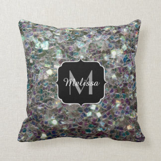 PLdesign's Sparkly colorful silver mosaic Monogram Pillow