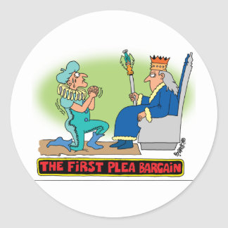 PLEA BARGAIN CARTOON CLASSIC ROUND STICKER