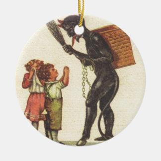 Pleading With Krampus Ceramic Ornament